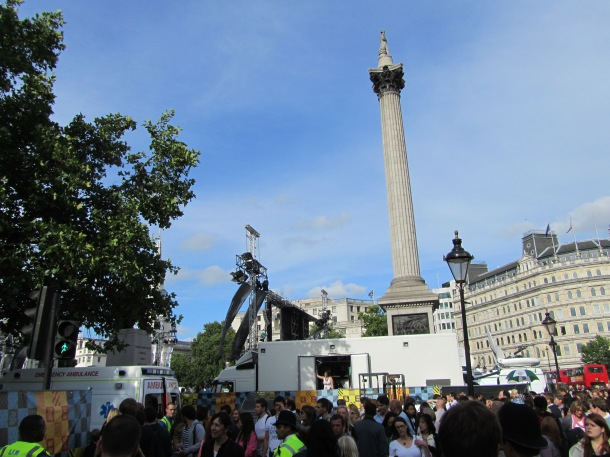 Trafalgar Square from the outside