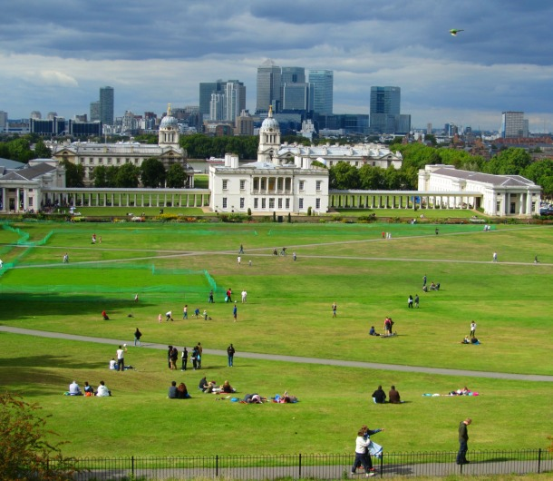 The Old Royal Naval College and Canary Wharf from the Royal Observatory