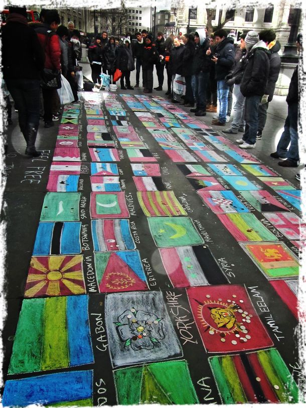 Chalk art flags in Trafalgar Square