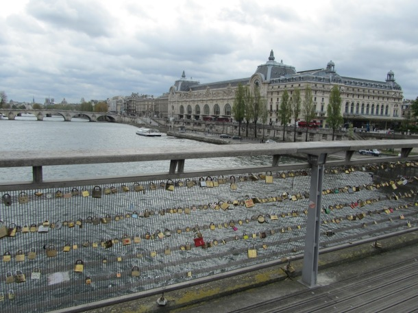Pont des Arts where couples attach padlocks with their initials on them. Cute!