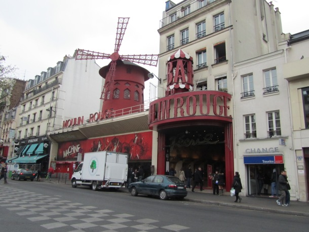 The famous Moulin Rouge on an equally suggestive street.