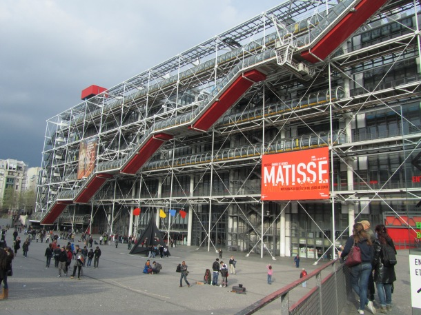 Centre Pompidou, the modern art museum. Quite a contrast to the architecture in the neighborhood.