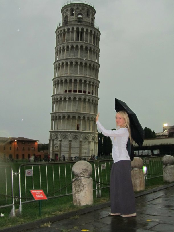 Silly holding-up-tower picture.. in the rain!